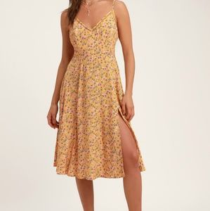 Esperanza Yellow Floral Print Midi  Dress Small